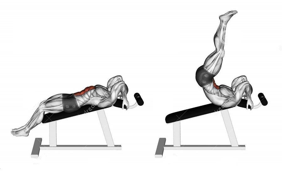 Подъёмы ног на наклонной скамье